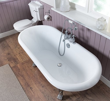 Freistehende Badewanne Wanne Standbadewanne Acryl 1695x740mm weiß - 3