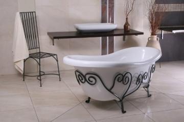 Freistehende Luxus Badewanne Jugendstil Mediterran Weiß/Schmiedeeisen 1690mm - Antik Stil Badezimmer - Retro Antik Badewanne - 2