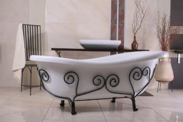 Freistehende Luxus Badewanne Jugendstil Mediterran Weiß/Schmiedeeisen 1690mm - Antik Stil Badezimmer - Retro Antik Badewanne - 3