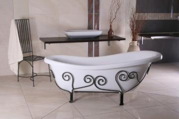 Freistehende Luxus Badewanne Jugendstil Mediterran Weiß/Schmiedeeisen 1690mm - Antik Stil Badezimmer - Retro Antik Badewanne - 4
