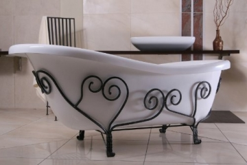 Freistehende Luxus Badewanne Jugendstil Mediterran Weiß/Schmiedeeisen 1690mm - Antik Stil Badezimmer - Retro Antik Badewanne - 1