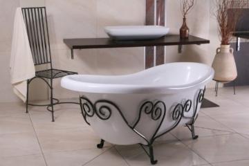 Freistehende Luxus Badewanne Jugendstil Mediterran Weiß/Schmiedeeisen 1690mm - Antik Stil Badezimmer - Retro Antik Badewanne - 6