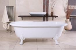 Freistehende Luxus Badewanne Jugendstil Milano Weiß/Weiß - Barock BadezimmerBadewanne Freistehend - 1