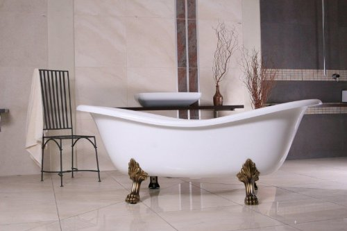 Freistehende Luxus Badewanne Jugendstil Paris Weiß/Altgold ...