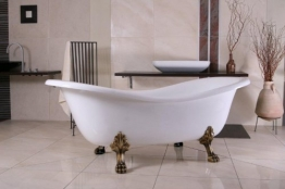 Freistehende Luxus Badewanne Jugendstil Paris Weiß/Altgold 1880mm - Barock Badezimmer - 1