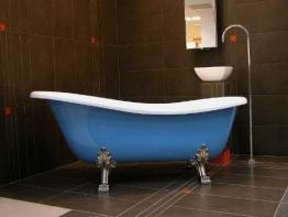 Freistehende Luxus Badewanne Jugendstil Roma Hellblau/Weiß/Chrome 1470mm - Barock Antik Badezimmer - 1