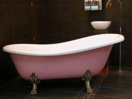 Freistehende Luxus Badewanne Jugendstil Roma Rose/Weiß/Altgold 1470mm - Barock Antik Badezimmer - 1