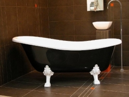 Freistehende Luxus Badewanne Jugendstil Roma Schwarz/Weiß/Weiß 1470mm - Barock Antik Badezimmer - 1