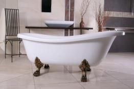 Freistehende Luxus Badewanne Jugendstil Roma Weiß/Altgold 1695mm von Casa Padrino - Barock Badezimmer - Retro Antik Badewanne - 1