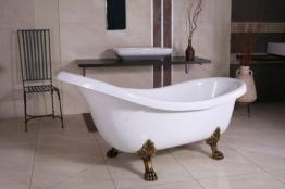 Freistehende Luxus Badewanne Jugendstil Sicilia Weiß/Altgold 1740mm - Barock Badezimmer - Retro Antik Badewanne - 1