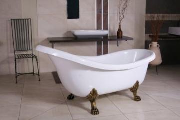 Freistehende Luxus Badewanne Jugendstil Sicilia Weiß/Altgold 1740mm    Barock Badezimmer   Retro Antik Badewanne