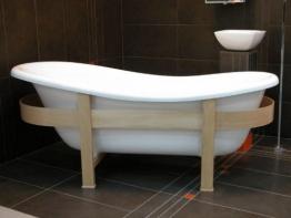 Freistehende Luxus Badewanne Jugendstil Toscane 1675mm Weiß/Holzgestell Hell - Antik Stil Badezimmer - 1