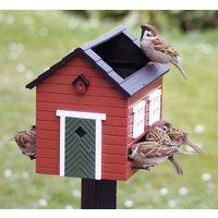 Futterspender / Vogelbad 'Rotes Haus'