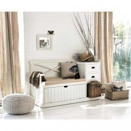 Garderobenmöbel aus Holz, weiß, B135