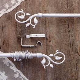 Gardinenstange Vorhangstange Gardinenstange variable Länge Landhaus Shabby Chic - Blumen - 160-300 - Weiß / Silber - Metall - 1