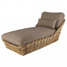 Garten-Chaiselongue aus Rattan mit taupefarbenen Kissen
