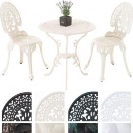 Garten Sitzgruppe VISHNU, Guss-Eisen, Design nostalgisch antik, Tisch rund Ø 65 cm + 2 Stühle