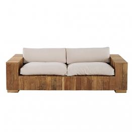 Gartenbank 2/3-Sitzer aus Teakholz mit naturweißen Kissen