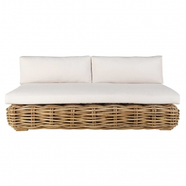 Gartenbank 3-Sitzer aus Rattan mit naturweißen Kissen
