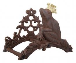 Gartenschlauchhalter Froschkönig Frosch mit Krone Gusseisen Anik-Stil Braun