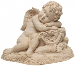Gartenskulptur ´Schlafender Amor´, Steinguss, Skulptur