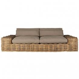 Gartensofa 2/3-Sitzer aus Rattan mit taupefarbenen Kissen