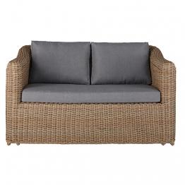 Gartensofa 2-Sitzer aus geflochtenem Kunstharz mit hellgrauen Kissen