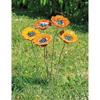 Gartenstecker-Blumenset 'Orange Blüten', 5-teilige Keramik