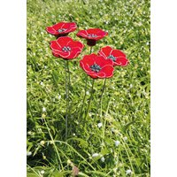 Gartenstecker-Blumenset 'Rote Blüten', 5-teilige Keramik