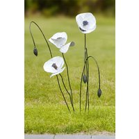 Gartenstecker-Blumenset 'Weißer Mohn', 6-teilig
