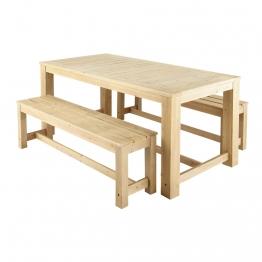Gartentisch + 2 Bänke aus Holz, B 180cm