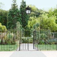 Gartentor Chelsea mit Laterne, 270x43x223 cm, Eisen, schwarz
