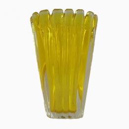 Gelbe Vintage Murano Glas Vase