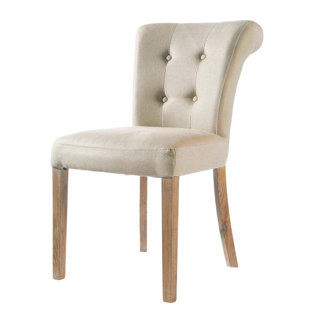 Gepolsterter Stuhl aus Leinen, ecru