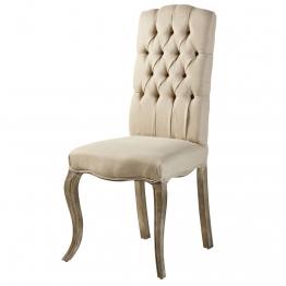 Gepolsterter Stuhl aus Leinen und Esche Chloé