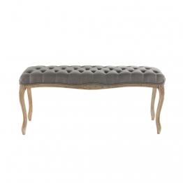 Gepolstertes Bett-Ende aus Holz und taupefarbenem Leinenbezug L 114 cm