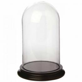 Glasglocke mit Boden schwarz, H:30 cm
