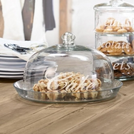 Glasglocke mit Platte Gâteau