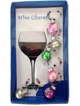 Glasmarkierer Wine Charms CHRISTBAUMKUGELN bunt, 6er-Set
