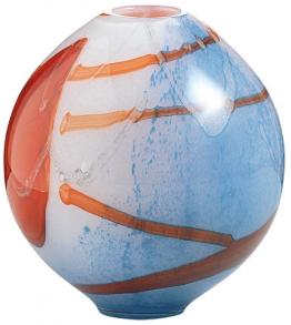 Glasvase ´Linea Rossa´, Version bauchig, Glas/Kristall