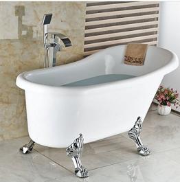 Gowe Luxus Wasserfall Badewanne Wasserhahn freistehend Bodenmontage Badewanne Mischarmaturen mit ABS Handbrause - 1
