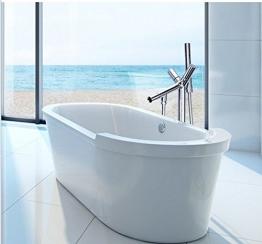Gowe Moderne Luxus Badewanne Dusche Mischbatterie Bodenmontage Badewanne Dusche Wasserhahn Chrom Messing Bad Waschtisch Armatur + Handbrause - 1