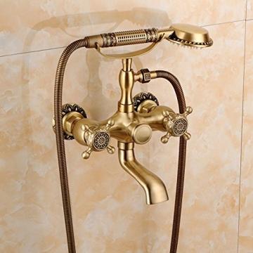 Gyps Faucet Waschtisch-Einhebelmischer Waschtischarmatur BadarmaturAlle Kupfer Antik Dusche Retro Set Dusche Badewanne Armatur Große Regendusche,Mischbatterie Waschbecken - 2