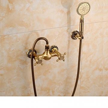 Gyps Faucet Waschtisch-Einhebelmischer Waschtischarmatur BadarmaturAlle Kupfer Antik Dusche Retro Set Dusche Badewanne Armatur Große Regendusche,Mischbatterie Waschbecken - 1