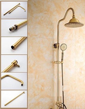 Gyps Faucet Waschtisch-Einhebelmischer Waschtischarmatur BadarmaturAlle Kupfer Antik Dusche Retro Set Dusche Badewanne Armatur Große Regendusche,Mischbatterie Waschbecken - 6