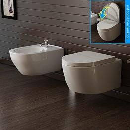 Hänge Keramik WC und Bidet Wand WC/Toilette inkl. WC-Sitz Soft Close Bad - 1