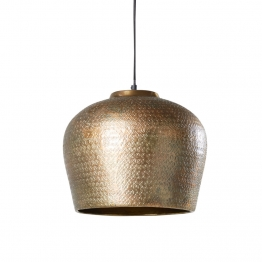 Hängelampe aus ziseliertem, goldfarbenem Metall in Antikoptik