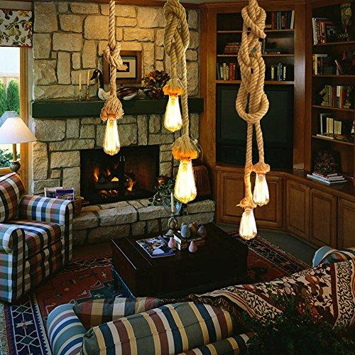 Hängelampe Vintage Seilampe Pendelleuchte Hängeleuchte Lixada Lampenfassung 50cm E27 Fassung (ohne Birne) - 2