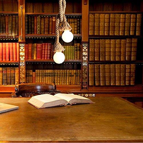 Hängelampe Vintage Seilampe Pendelleuchte Hängeleuchte Lixada Lampenfassung 50cm E27 Fassung (ohne Birne) - 3