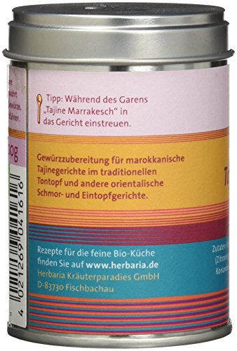 "Herbaria ""Tajine Marrakesch"" Marokkanische Gewürzmischung, 1er Pack (1 x 100 g Dose) - Bio - 2"